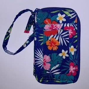 Inspired Wallet Blue Tropical Print Quilted Fabric